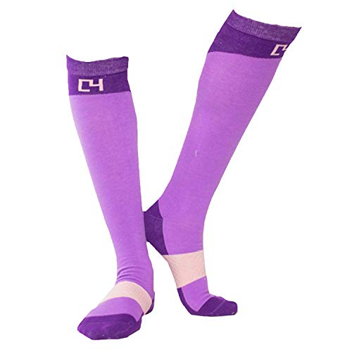 C4 Equestrian Horse Riding & Tall Boot Over the Calf Knee High Socks for Women (Purple)