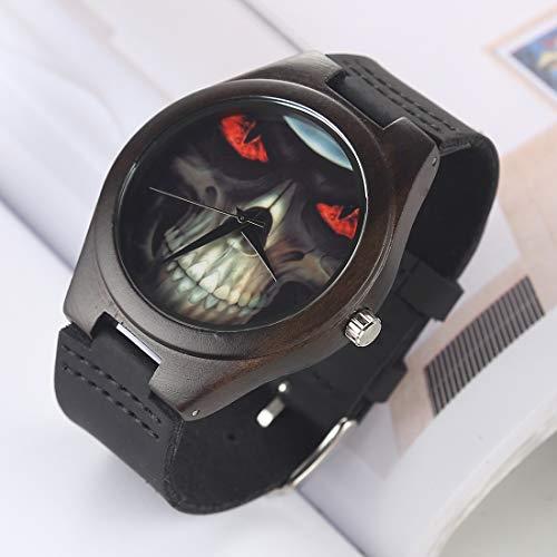 Reloj Digital, Reloj De Moda Casual, Dial Redondo Concha De Madera Pareja Regalos Reloj con Correa De Cuero Relojes De Cuarzo Clásico Digital (Color : Color3)