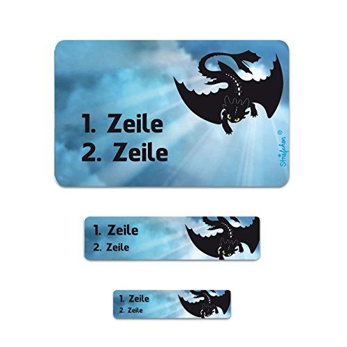 Striefchen® Namensaufkleber für Schule - Drache - in 3 verschiedenen Größen 200 Stück
