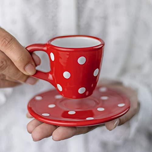 Stadt zu Cottage rot und weiß | gepunktet | Designer handgefertigt handbemalt | Einzigartiges Keramik 60/60| Espresso Tasse mit Untertasse | Geschenk