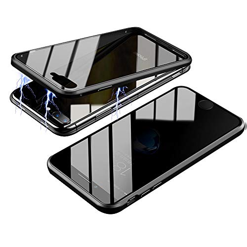 RANYOK Compatible iPhone 11 Pro Max Privacy Magnetic Adsorption Case, Double-Sided Tempered Glass with Built-in Screen Protector 360° Full Body Metal Frame Cover (6.5 inch) (Black)