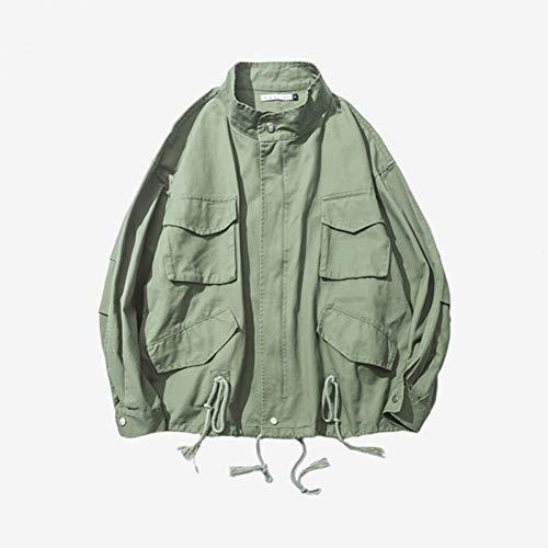 NSWTKL jas voor herfst, militaire jas, unisex, trekkoord, winddicht, eenvoudig ontwerp, legergroen