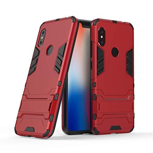 Funda Xiaomi Redmi Note 6 Pro, Funda 2in1 Dual Layer 360° Full Body Anti-Shock Protección Silicona TPU Bumper y Duro PC Armadura con Soporte y Desmontable Carcasa para Xiaomi Redmi Note 6 Pro, Rojo