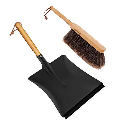 Redecker Kehrset, Kehrganitur, geölte Buchenholzgriffe, Kehrschaufel pulverbeschichtetes Metall (schwarz), mit Gummilippe, Handfeger geschlitztes Rosshaar