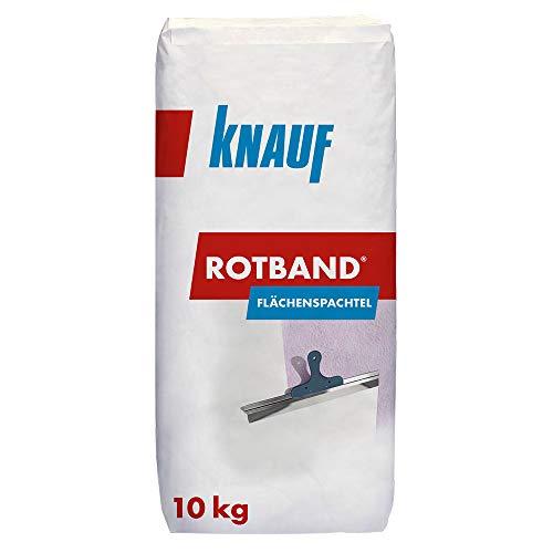 Knauf Rotband Flächenspachtel – schnell härtende Spachtel-Masse zum Spachteln und Glätten von Putz, Mauerwerk etc., leicht zu verarbeiten, Wand-, Decken-Spachtelmasse für Innen-Bereich, 10-kg