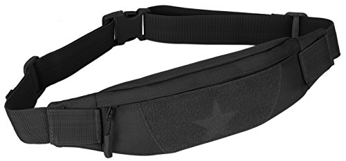 DCCN Taktische Hüfttasche Gürteltasche mit Kopfhöreröffnung Fanny Pack Waist Bag für 5,5 inch Smartphone Schwarz