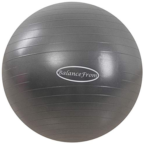 BalanceFrom Anti-Burst and Slip Resistant Exercise Ball Yoga Ball Fitness Ball Birthing Ball with Quick Pump, 2,000-Pound Capacity (48-55cm, M, Gray)