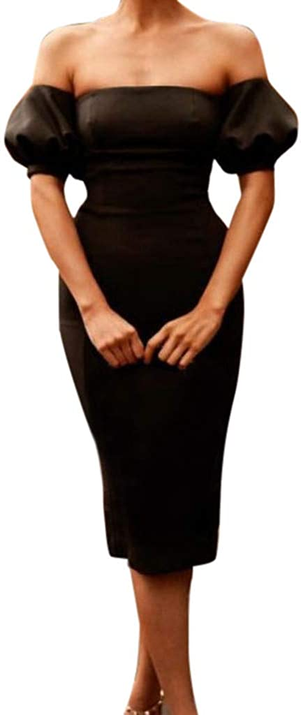 Sayhi Black Sexy Slash Neck Tube Top Half Sleeve Pencil Skirt Slim Bag Hip Skirt Evening Dress Summer Sundress