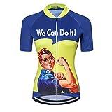 Maillot de Ciclismo para Mujer con Cremallera Manga Corta Ropa de Ciclismo de Carretera Equipo Profesional de Carreras BTT para Mujer Ropa de montaña Transpirable Amarillo y Azul L