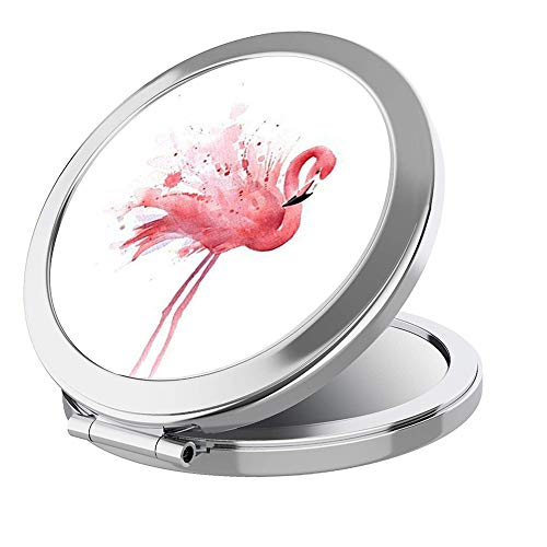 IMLONE Portable Travel Makeup Mirror Round Sliver 2X Magnification Women Girl Gift Folding Compact Mirror Perfect for Purses/Travel -Beauty Flamingo