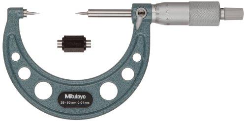 Mitutoyo 112-154 Series Micrómetro de 112 puntos, punta de 15 grados, rango de 25 mm-50 mm, graduación de 0,01 mm