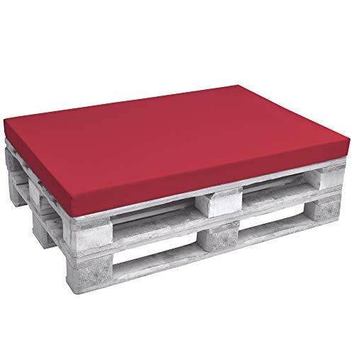 Beautissu ECO Pure Coussins Exterieur pour Canape Euro Palette Banquette - Assise - 120x80x8cm - Rouge