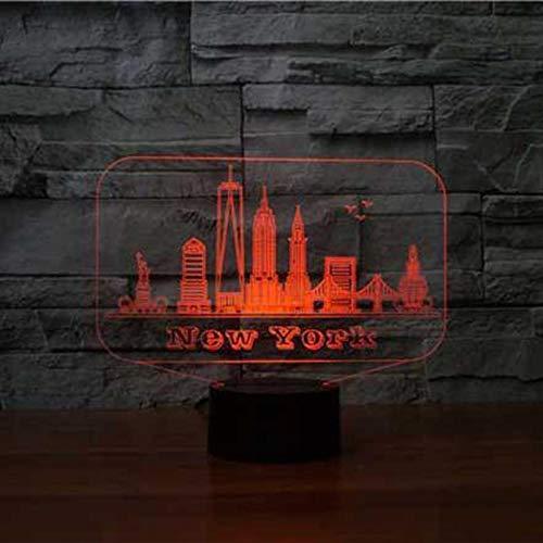 Edificio Del Puente De Nueva York 16 Colores Lámpara De Mesa, Luz De Noche Habitación Regalo 3D Adultos Vacaciones Diseño Festivo Led Navidad Luz Ilusión Lámpara Creativo Control Iluminación Bebé Camb