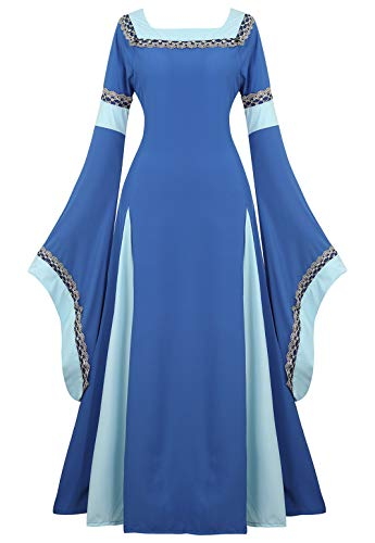 Womens Irish Medieval Dress Renaissance Costume Retro Gown Cosplay Costumes Fancy Long Dress, Blue, Large
