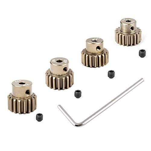Hobbypark Metal 7075 Aluminum Alloy 32 Pitch Pinion Gear Set 3.175mm Shaft Hole 17T 18T 19T 20T Motor Gears Kit for RC Car (4-Pack)