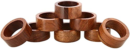 Divine Glance Handmade Wood Napkin Ring Set with 8 Napkin Rings - Artisan Crafted in India