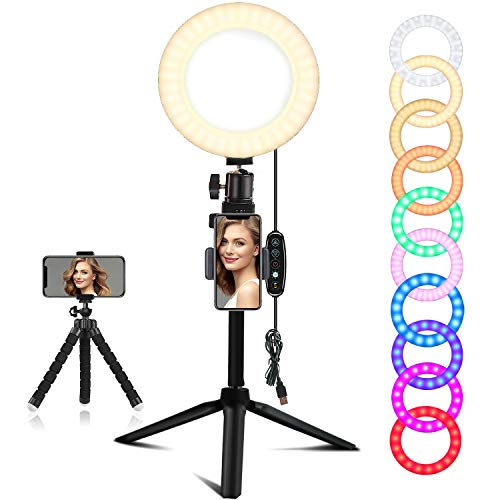 EEIEER Ring lights, 6'' RGB Ring Light with adjustable Tripod Stand, Mini LED Dimmable Selfie Light Ring with Cell Phone Holder Desktop LED Lamp with USB for Makeup, Youtube, Video (RGB, 6 INCH)