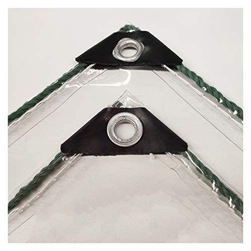 JIANFEI Tarp Transparent Heavy Duty Thick Waterproof, PVC Perforated Balcony Windshield, Outdoor Flower Shed Rainproof And Thermal Insulation Soft Film, 450g/㎡ (Color : Clear, Size : 1.2x4.0m)