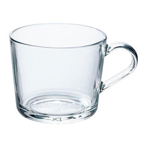 Ikea 365+ Set Kaffeetasse/Teebecher MIT Korkuntersetzer - spülmaschinenfest - Kaffeebecher aus Pozellan oder Teetasse aus Glas - versch. Größen (transparent - Glas, 240 ml)