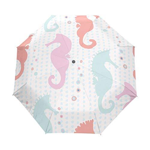 SUHETI Regenschirm Taschenschirm,Pastellseepferdchen Schattenbild Vektor Muster,Auf Zu Automatik,windsicher,stabil