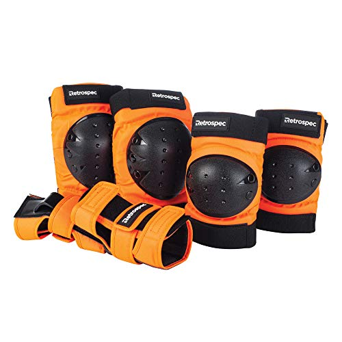 Retrospec Adult/Youth/Child Knee Pads Elbow Pads and Wrist Guards Protective Gear for Skateboarding Roller Skate BMX and Scooter Multi Sport Pad Set, Orange, Youth (10-14 Years)