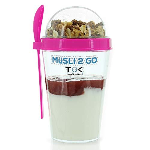 TOK® Müslibecher to go/Joghurt to go Becher mit Löffel/komplett dicht, BPA frei, wiederverwendbar / 450 ml Becher & 150 ml Deckel/Reise-Müsli-Becher für den gesunden Snack unterwegs (Pink)