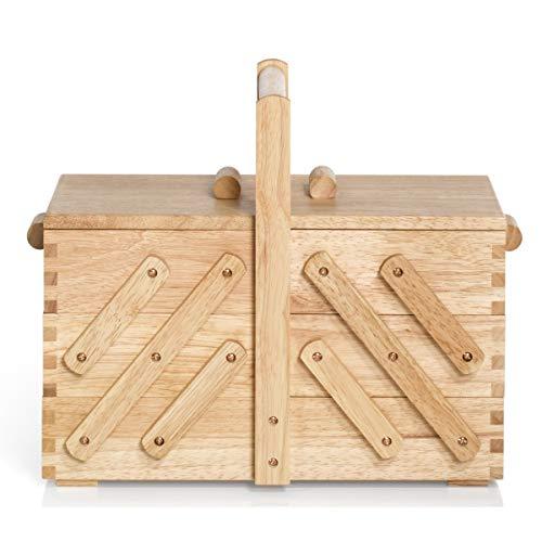 Prym 612546 Nähkasten aus hellem Holz, M Nähkorb, beige, braun, M
