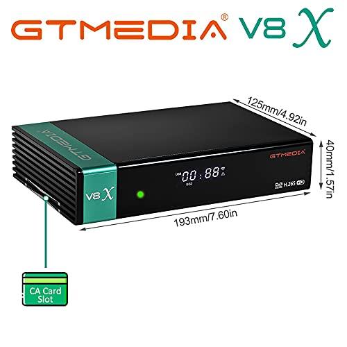 GT Media V8X DVB-S/S2/S2X Decodificador Satelite Digital Full HD con Wi-Fi Incorporado/Ethernet/SCART/FTA,Soporte CC CAM,Youtube,PowerVu,Biss Key,Ranura para Tarjeta CA(V8 Nova Mejorada)