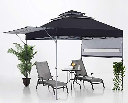 ABCCANOPY 3x3M Pop Up Gartenpavillon 3-Tier Instant Canopy mit verstellbaren Doppelhalbmarkisen, Schwarz
