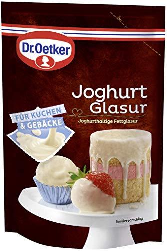 Dr. Oetker Joghurt Glasur – Für eine Joghurt-Note auf Kuchen, Torten, Desserts, Eis oder Früchten 1er Pack (1 x 150g)