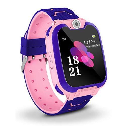 SQUAREDO Reloj Inteligente para Niños Teléfono para Niños Reloj con Rastreador GPS con Alarma Anti-perdida Ranura para Tarjeta Sim Pantalla Táctil Smartwatch para Niños De 3-12 Años