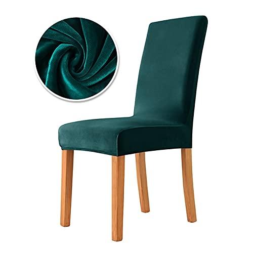 Funda de Silla de Tela de Terciopelo Real de 6 Piezas, 22 Colores Disponibles, Fundas elásticas para sillas, Funda de Asiento de Tela Suave para Comedor 10