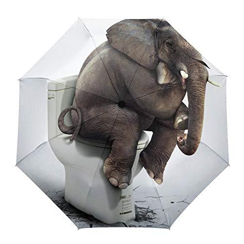 Faltbarer Reise-Regenschirm, Elefant, sitzt auf WC, automatisches Öffnen/Schließen, kompakter, winddichter Regenschirm für Mädchen/Frauen/Erwachsene