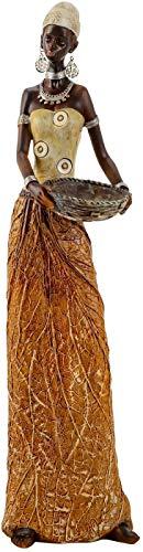 Lifestyle & More Escultura Moderna Deco Figura Mujer Oro Africano/marrón Altura 40 cm