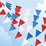 July 4th Fourth Party Decorations 131feet Red Blue and White Triangular Fabric Outdoor Pennant Banner, Fourth of July Bunting Flags Events Decoration for Independence Day