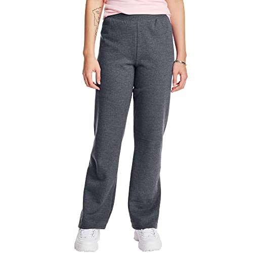 Hanes Women's Petite EcoSmart Open Bottom Leg Sweatpants, Slate Heather, Medium
