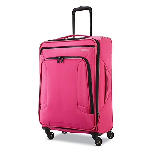 American Tourister 4 Kix Expandable Softside Luggage with Spinner Wheels, Pink, Checked-Medium 25-Inch