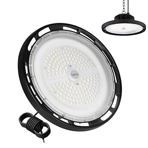 bapro 200W UFO LED Lámpara Alta Bahía, 6500K blanco frío 20000LM Campana LED Industrial, impermeabilidad IP65 Ángulo de haz de 120 ° Industrial LED Iluminación Comercial para Garajes/sótanos/estadios