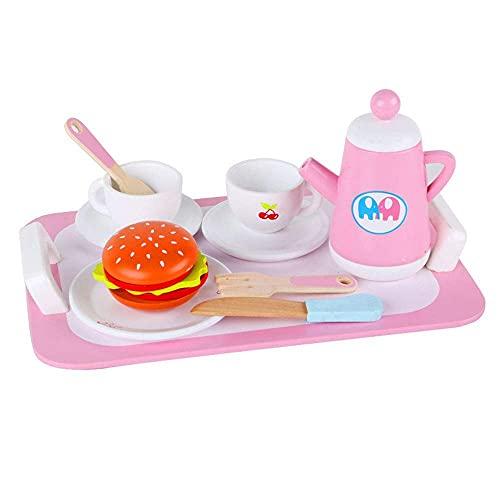 lqgpsx Juego de té Europeo Pastel de Fresa para niños Caja de Pan para bocadillos Mariposa de Madera Simulación de niña Juego de té de Madera Fiesta del té de la Tarde,Juego de té de Regalo