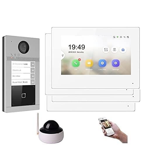 WLAN 4 Familienhaus IP Video Türsprechanlage, Unterputz-Türstation IP65, 7 Zoll Monitor, HD-Kamera 130°, Foto-/Video-Speicher, PoE-Switch, Größe: 1x Kamera
