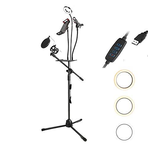 Selfie Ringlicht Met Statief En Gsm-houder, Dimbare LED-vullamp Ringlicht, Geschikt Voor Selfie, Camera, Foto,A