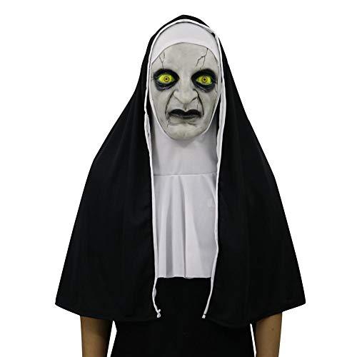 awhao Costume da suora di Halloween per donna, 2019 Maschera di suora con velo Maschera di zombie spaventosa, Maschera Halloween Fantasma Horror Fantasma femminile Maschera Maschera Maschera di kindly