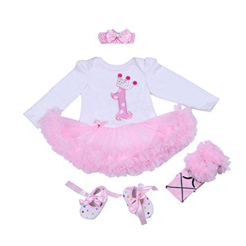 BabyPreg Bebé niñas Patrón de la Corona 1er cumpleaños Vestido Tutu Diadema Zapatos 4 Piezas