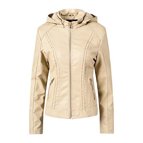 GreatestPAK Lederjacke mit Kapuze Damen Schlank Reißverschluss Langarm Warm Mantel Brusttaschen Hoodies,Weiß,Etikette:XL(Bust:108cm)