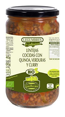 Guillermo Lentejas Cocidas con Quinoa, Verduras y Curry Ecológicas BIO Categoría Extra Conserva Tarro 540gr