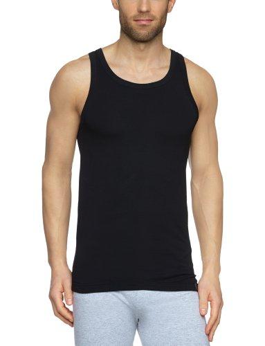 Schiesser Herren Shirt 0/0 Arm Unterhemd, Schwarz (000-schwarz), 6