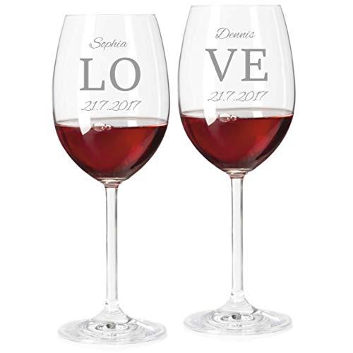 2 Rotweingläser mit Namen graviert - personalisierte Weingläser - mit individueller Wunsch-Gravur als Geschenk zur Hochzeit (Love)