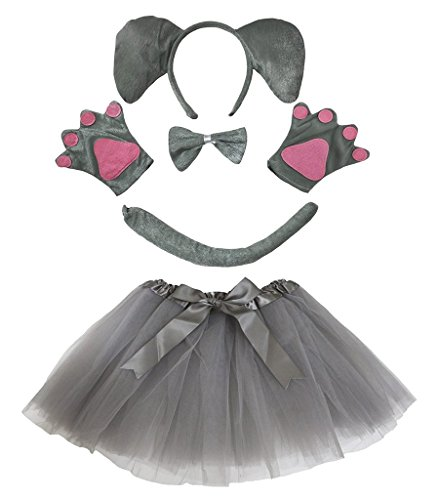 Petitebelle Diadema Bowtie Guantes de cola Tutu niña Disfraz de 5 piezas Un tamaño elefante gris