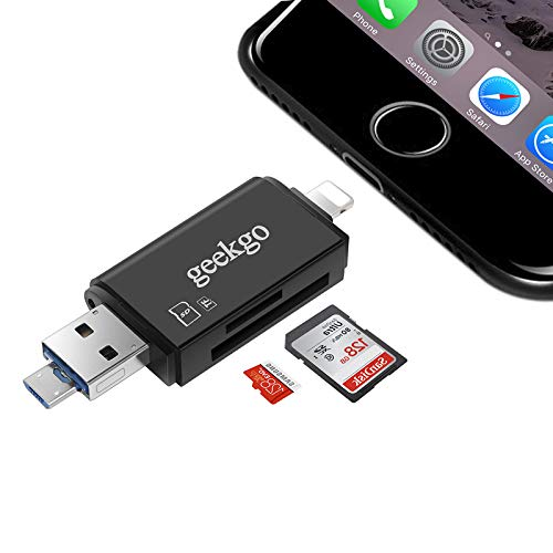 geekgo SD Card Reader,Micro SD USB Memory Card Reader Adapter Viewer for iPhone iPad Android Mac - Support Micro USB OTG 3 in 1 (Black)