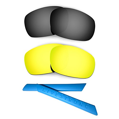 HKUCO Black/24K Gold Polarized Replacement Lenses Plus Blue Earsocks Rubber Kit for Oakley Racing Jacket